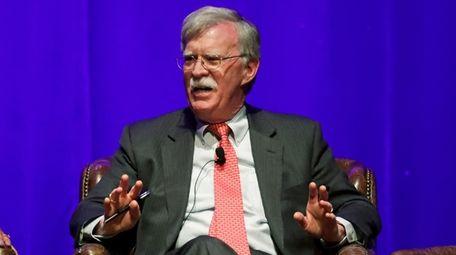 Former national security adviser John Bolton takes part
