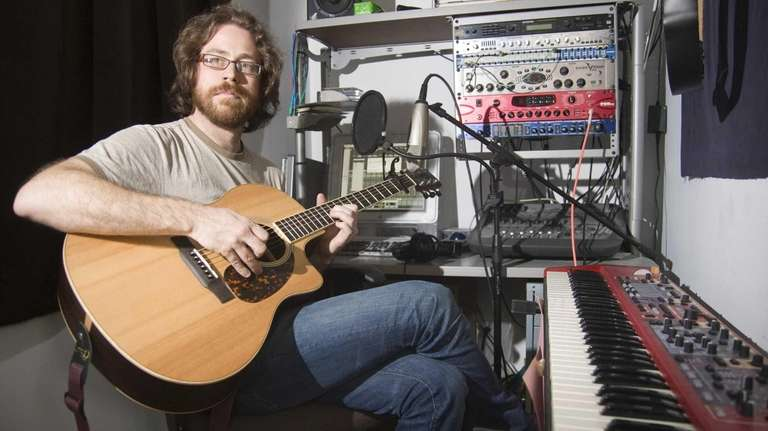 Musician Jonathan Coulton at his home studio in