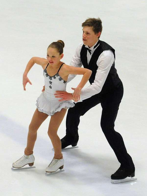 Figure skating pair Darbie Burke, 12, and Griffin