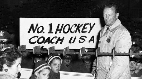 U.S. Olympic Hockey coach Jack Riley is welcomed