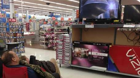 Walmart employees watch movies at their Middle Island