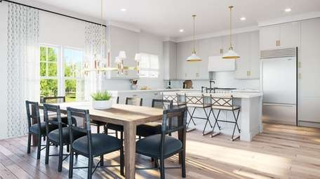 A kitchen and dining room at The Latch