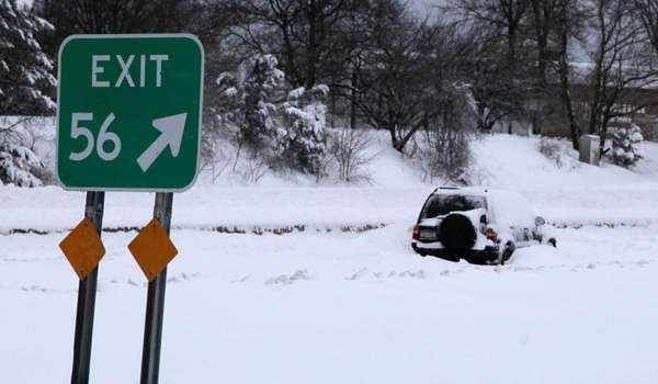 A car is stuck on the Long Island
