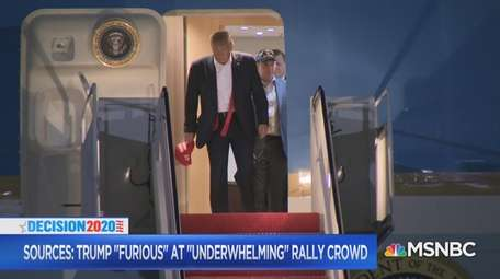 President Donald Trump and Rep. Lee Zeldin leave