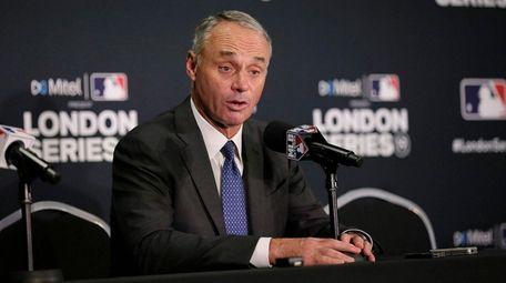 Major League Baseball commissioner Rob Manfred speaks during