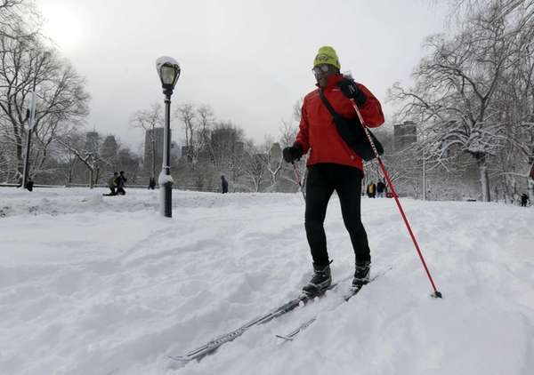 Fred Graham cross country skis in New York's