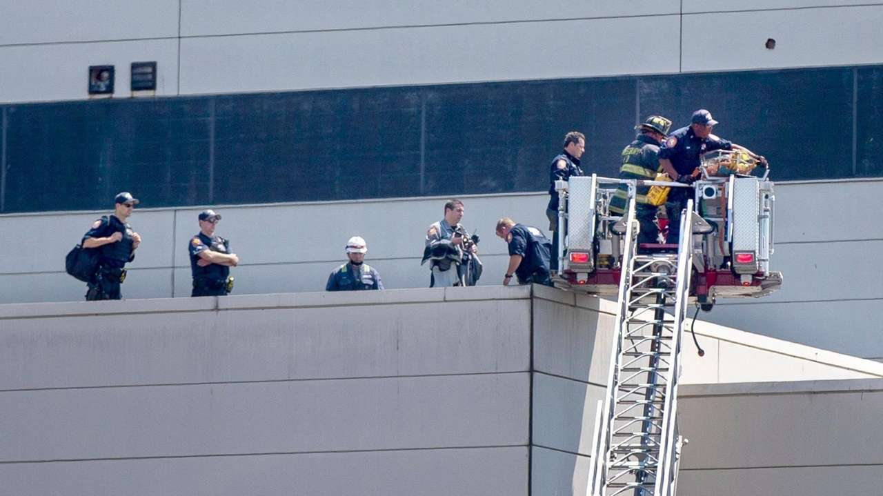 Emergency responders rescued a worker who fell and