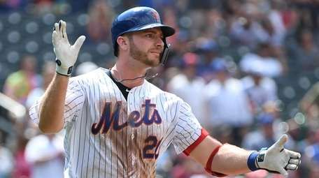 Mets first baseman Pete Alonso reacts as he