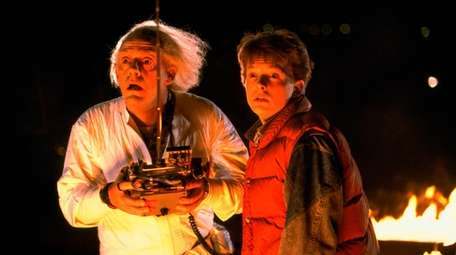 Christopher Lloyd as Dr. Emmett Brown and Michael
