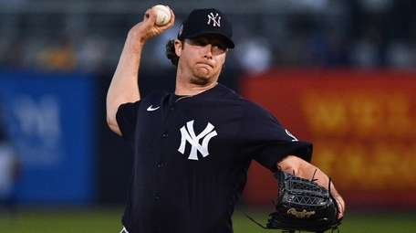 Gerrit Cole of the Yankees delivers a pitch