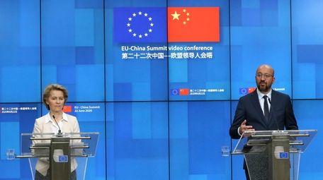 European Council President Charles Michel, right, and European