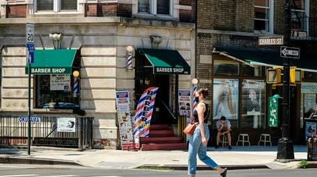 A barbershop on Manhattan's Seventh Avenue South, in