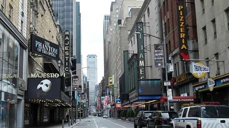 Broadway theaters, seen here in April, have been