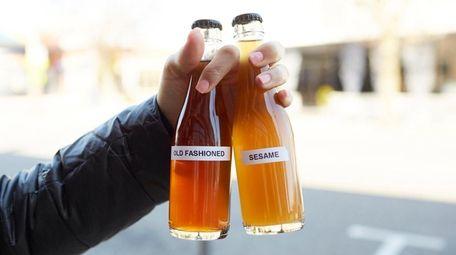 Bottled cocktails to-go at Bakuto in Lindenhurst.