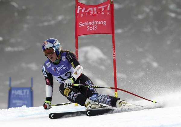 Lindsey Vonn speeds downhill during the women's super-G