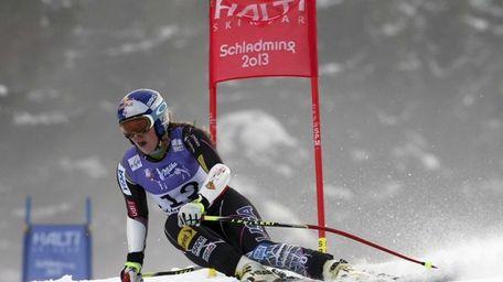 Lindsey Vonn speeds downhill during the women's super-G