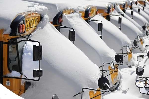 School buses are covered in snow after a