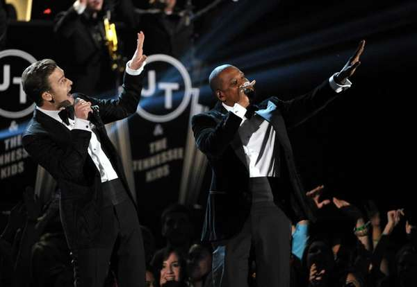 Justin Timberlake, left, and Jay-Z perform on stage