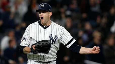 James Paxton #65 of the Yankees reacts after
