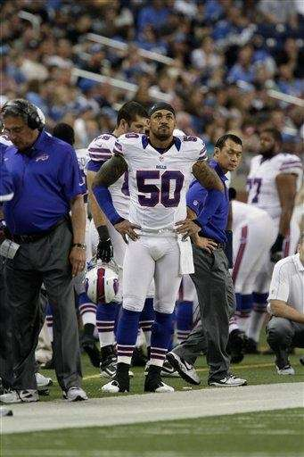 Buffalo Bills linebacker Nick Barnett (50) stands on
