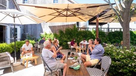 The tasting patio that accommodates a maximum of