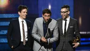 Musicians Nate Ruess, from left, Jack Antonoff and