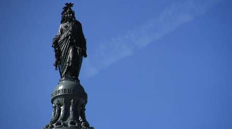 The bronze Statue of Freedom that sits atop