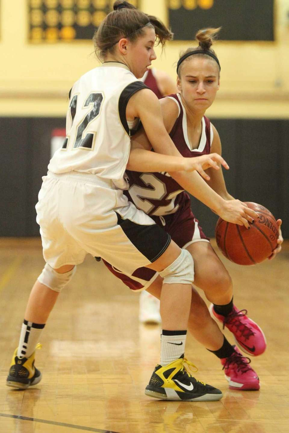 Garden City's Michaela Bruno is guarded by Wantagh's