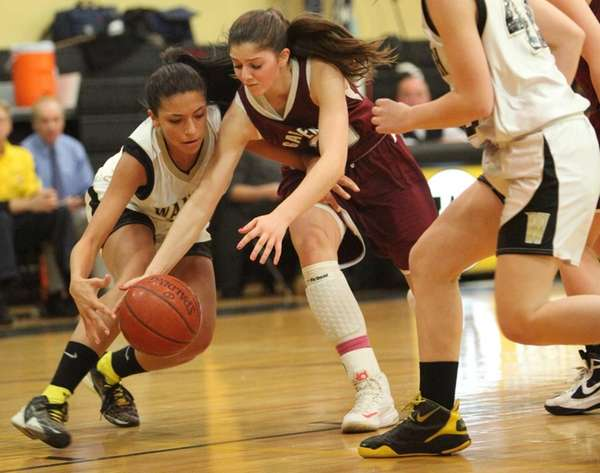 Wantagh's Demi Valenti fights for a loose ball