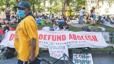 Anti-police protesters occupying City Hall Park in Manhattan