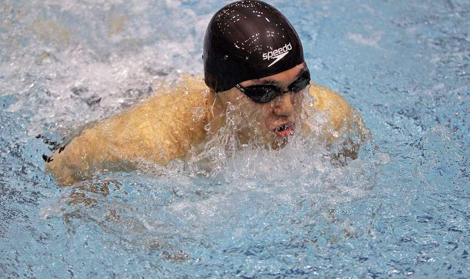 Great Neck South's Benjamin Chin swims the breaststroke