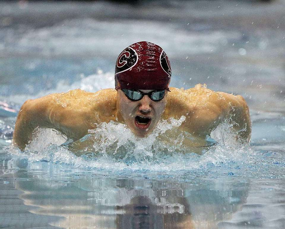 Joseph Lozano swims the butterfly leg of the