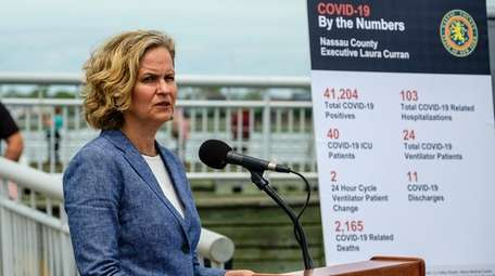 Nassau County Executive Laura Curran speaks during a