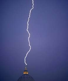 Lightning strikes St Peter's dome at the Vatican.