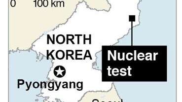 Map shows location of nuclear test in North