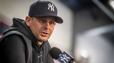 Yankees' manager Aaron Boone during a press conference