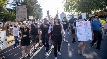 Protesters demand justice for George Floyd during a