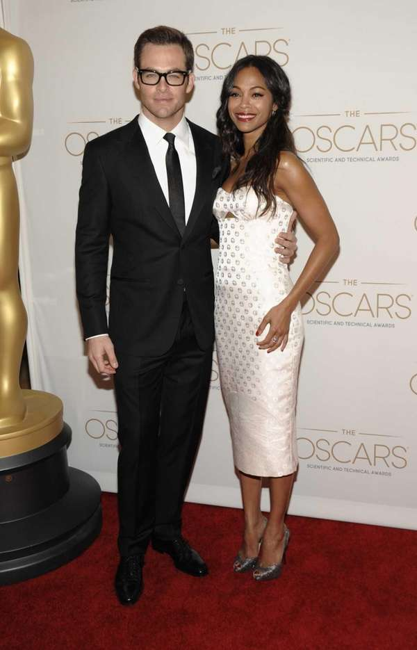 Actors Chris Pine and Zoe Saldana arrives at