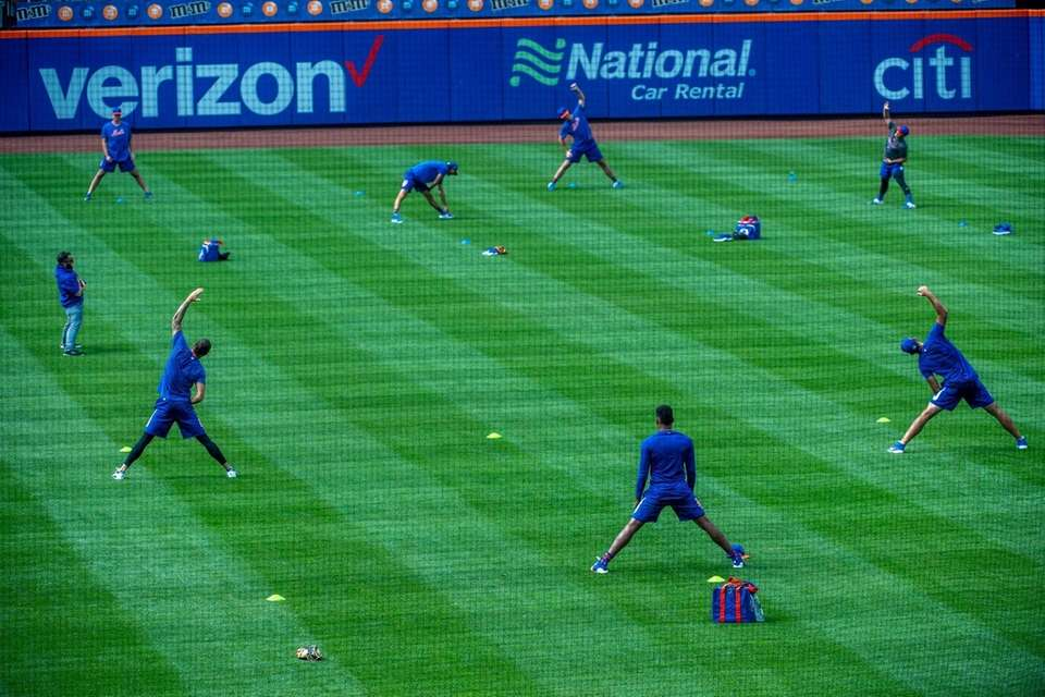 Mets players during a workout at Citi Field