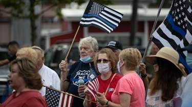 People rally in support of first responders and
