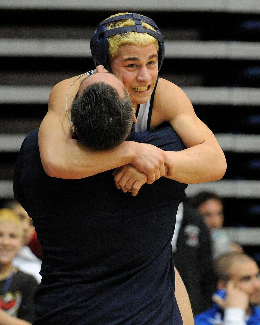 Jimmy Leach of Eastport-South Manor celebrates with head