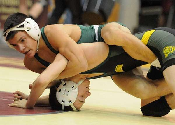 Alex Tanzman of Westhampton Beach, left, battles Anthony