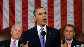 President Barack Obama, flanked by Vice President Joe