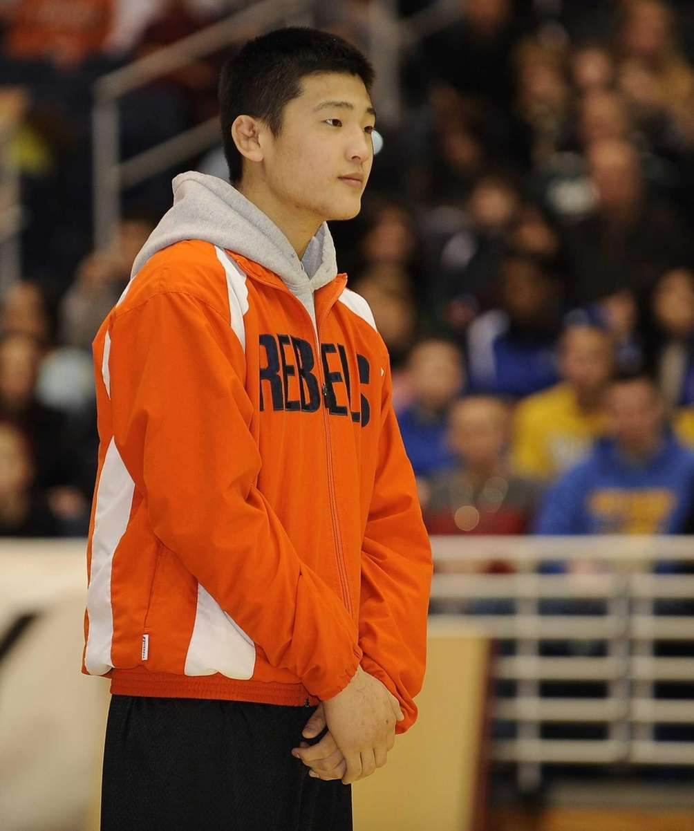 Great Neck South's Chris Koo looks on at