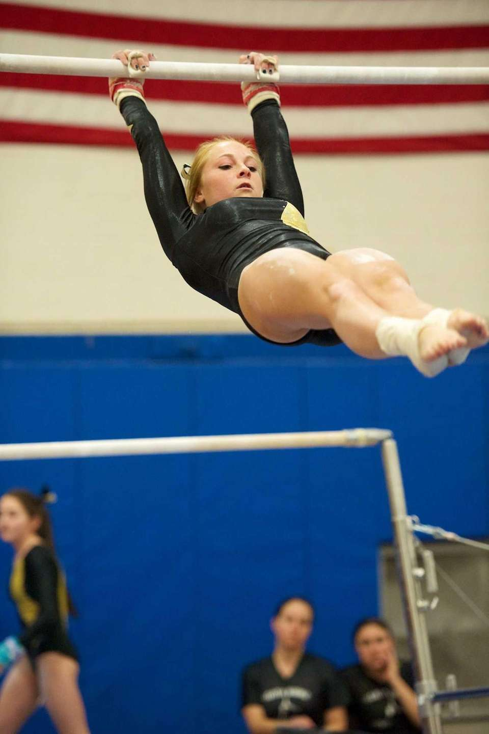Wantagh gymnast Brianna Quinn performs on the uneven