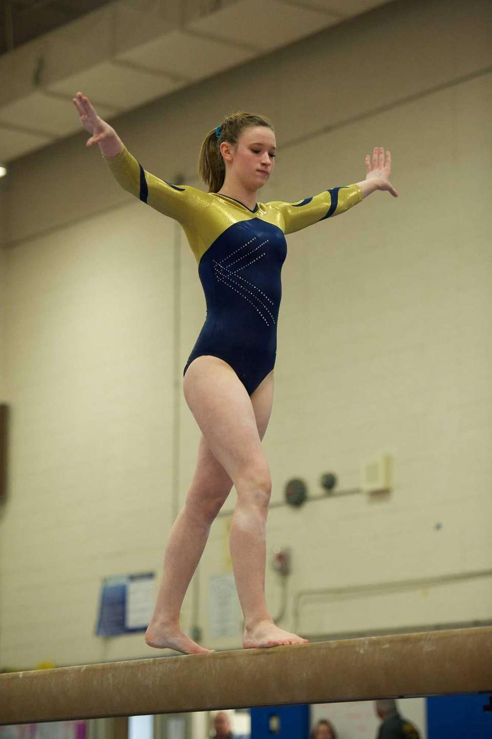 Bethpage gymnast Lexi Fraher performs on the balance