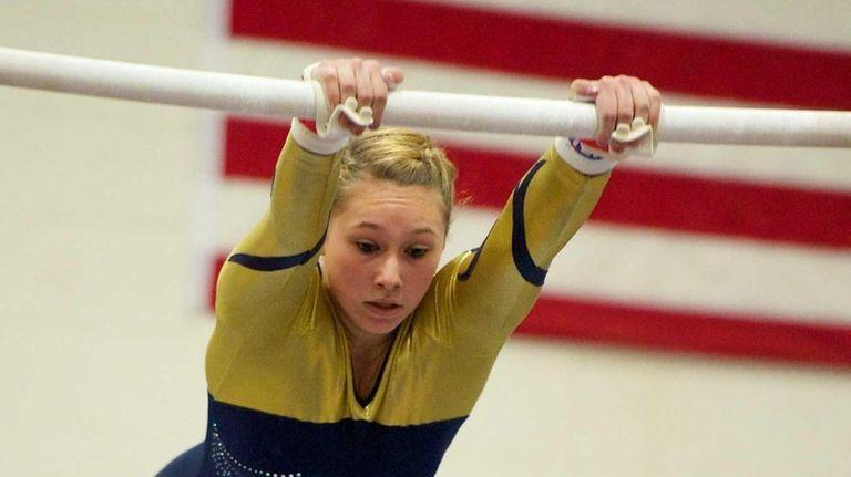 Bethpage gymnast Alyssa Testa performs on the uneven