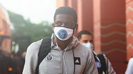 New York City FC goalkeeper Sean Johnson arrives