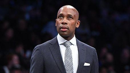 Nets interim head coach Jacque Vaughn looks on
