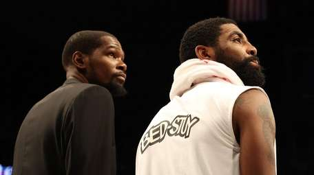 Kevin Durant and Kyrie Irving of the Nets